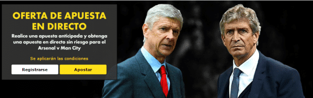 Oferta en directo sin riesgo Arsenal v Manchester City