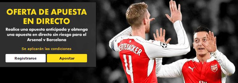 Oferta en directo para el Arsenal v Barcelona