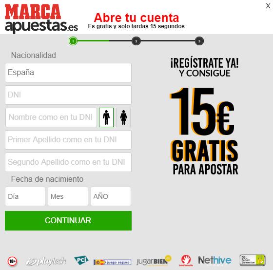 15€ gratis Marca Apuestas