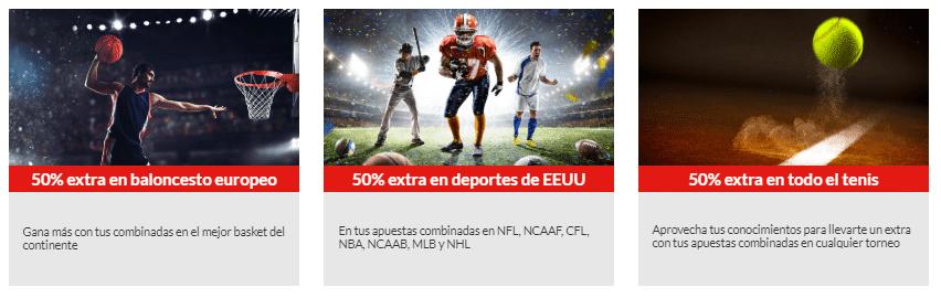 Marca Apuestas - Promoción 50% baloncesto, tenis y deportes americanos