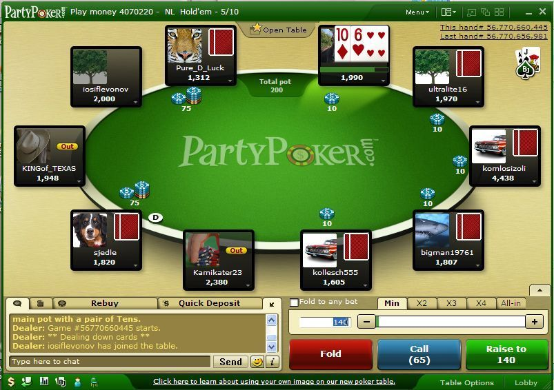 party-poker-mesa de juego