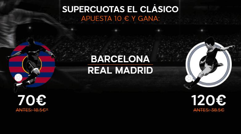 Supercuotas para el clasico FC Barcelona - Real Madrid