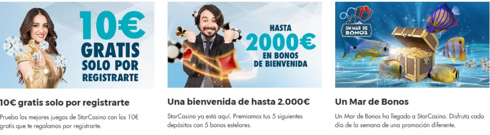 promociones y bono Starcasino 10€ gratis y 2000 euros paquete de bienvenida