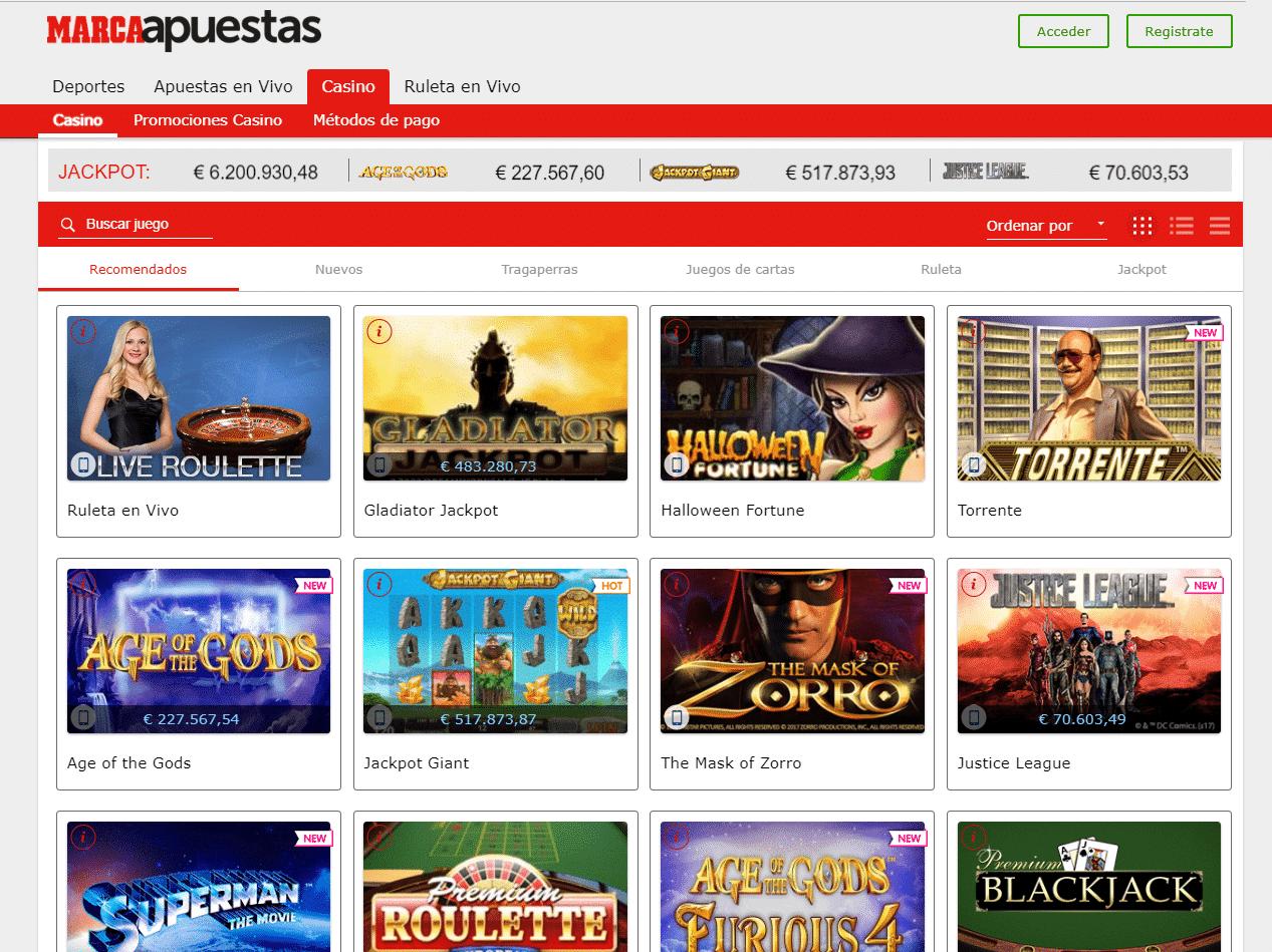 slots y tragaperras marca casino