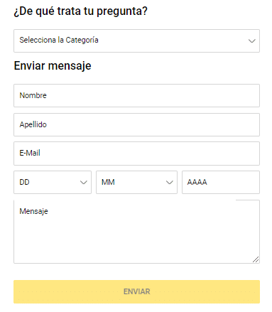 Formulario de contacto Bwin