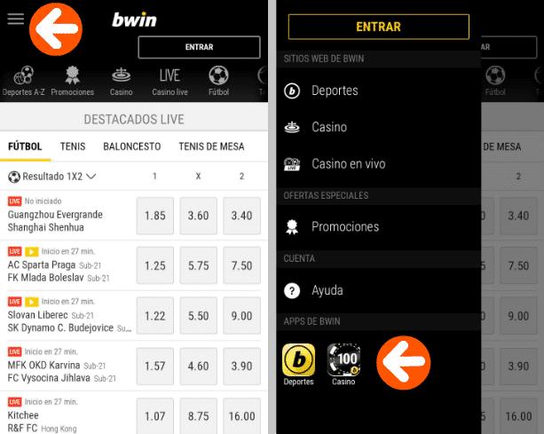 aplicacion mobil Bwin IOS & Android