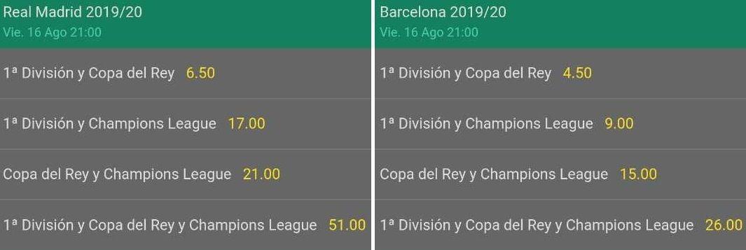 Apuestas al ganador del triplete temporada 2019-2020 Real Madrid o FC Barcelona Bet365