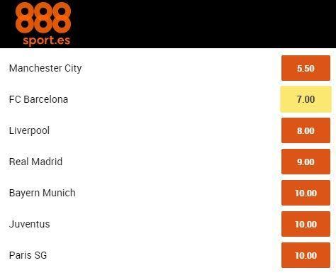 mejor cuota Futbol Club Barcelona al ganador de la Champions con 888sport