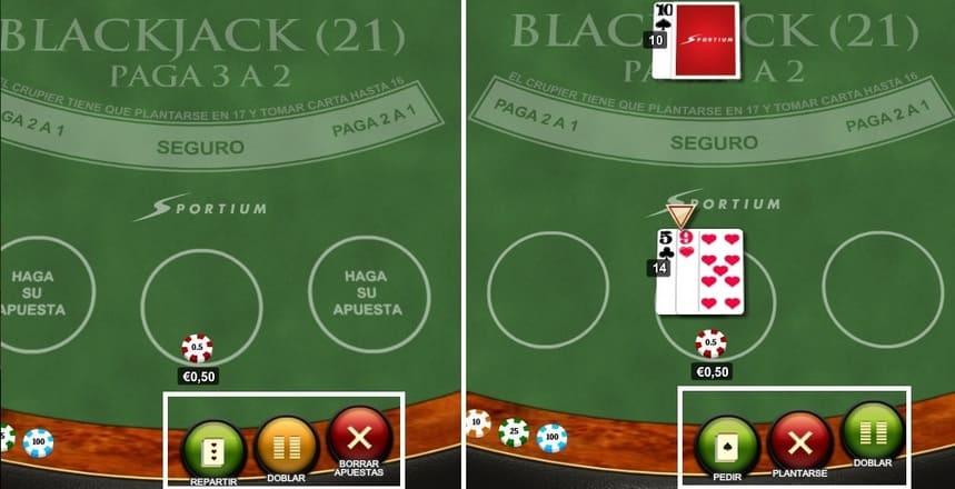 Acciones posibles al jugar en blackjack
