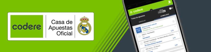 Codere Casa de Apuestas oficial del Real Madrid Club de Fúbol