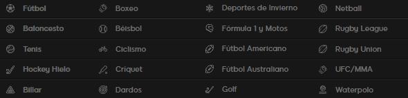 deportes disponibles