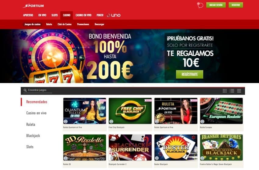 Oferta de juegos Sportium Casino