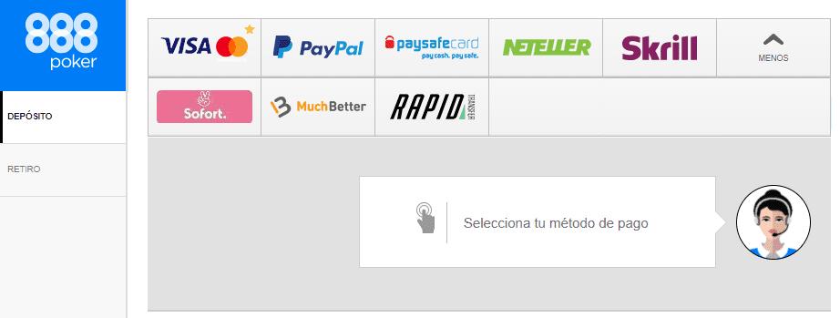 metodos de pago 888poker