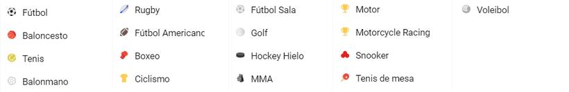 deportes disponibles - apuestas deportivas