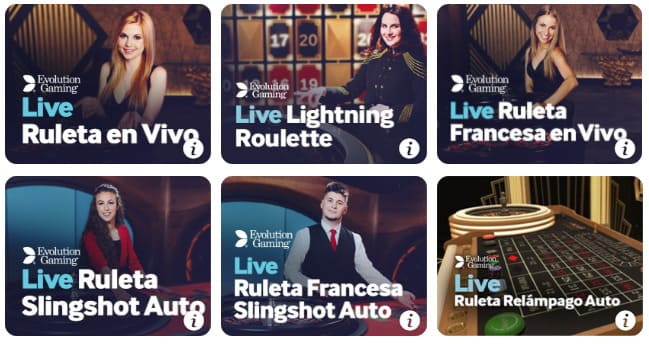ruletas en directo - casino en vivo