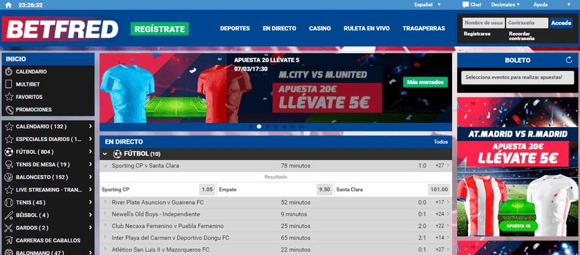 portal web Betfred apuestas deportivas