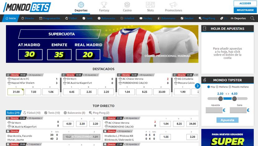 portal web mondobets apuestas deportivas online