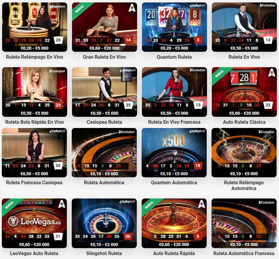 16 Ruletas en Vivo - LeoVegas Casino