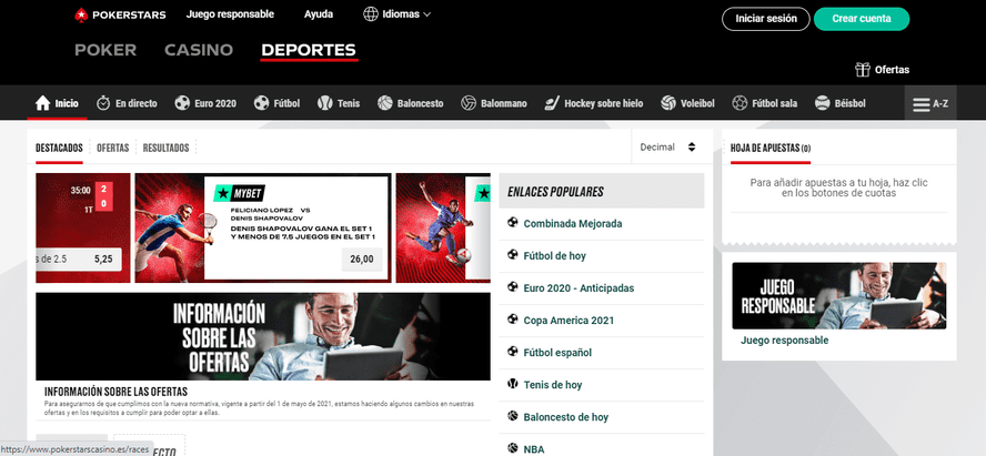 versión web pokerstarssports