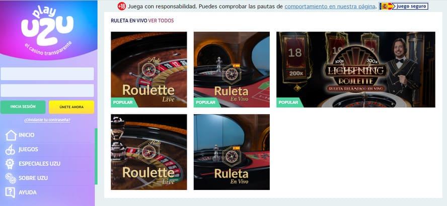 ruletas en vivo